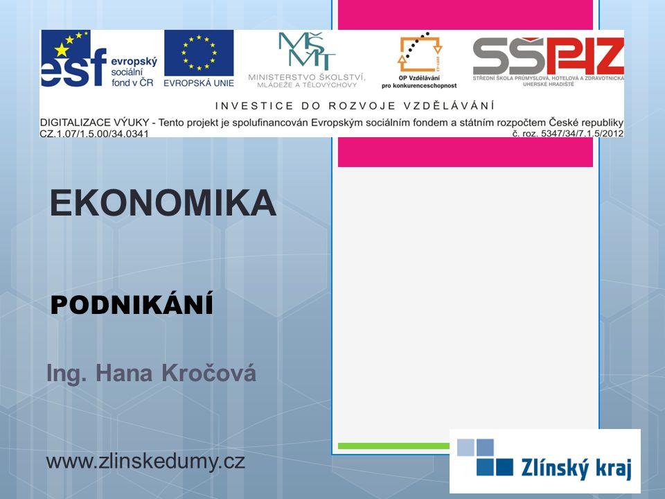 PODNIKÁNÍ Ing. Hana Kročová EKONOMIKA www.zlinskedumy.cz