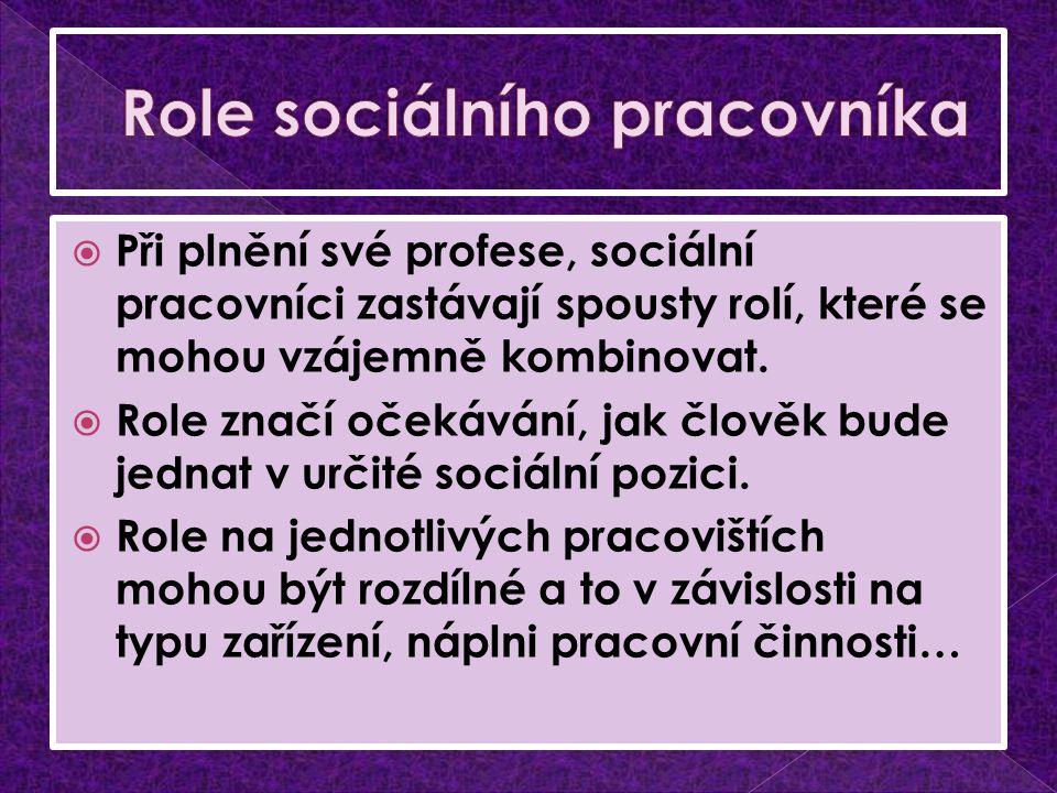  Při plnění své profese, sociální pracovníci zastávají spousty rolí, které se mohou vzájemně kombinovat.