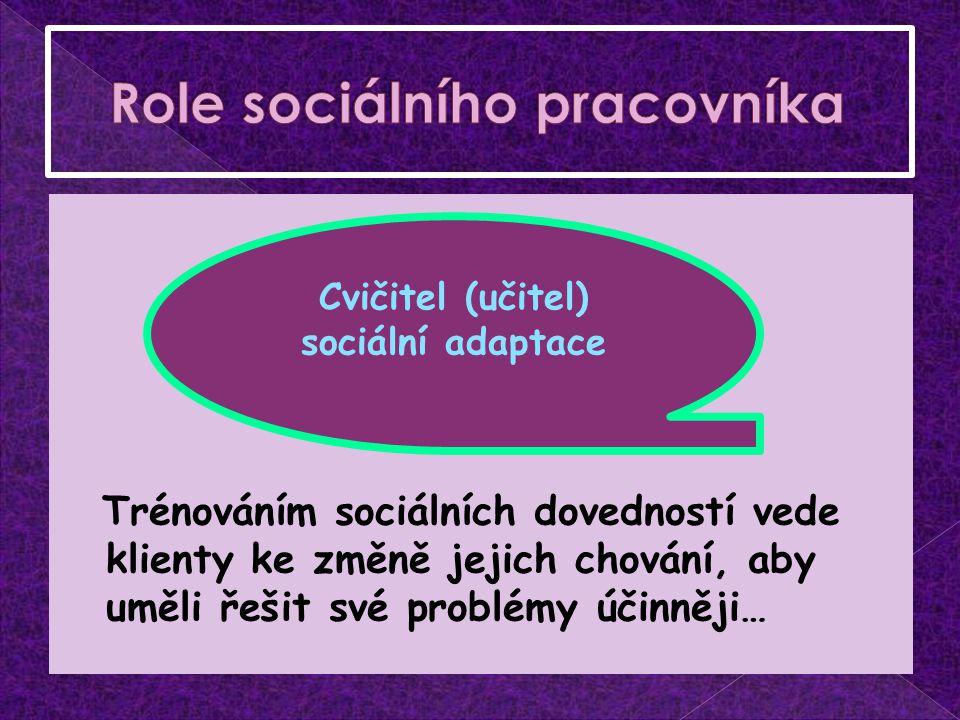 Trénováním sociálních dovedností vede klienty ke změně jejich chování, aby uměli řešit své problémy účinněji… Cvičitel (učitel) sociální adaptace