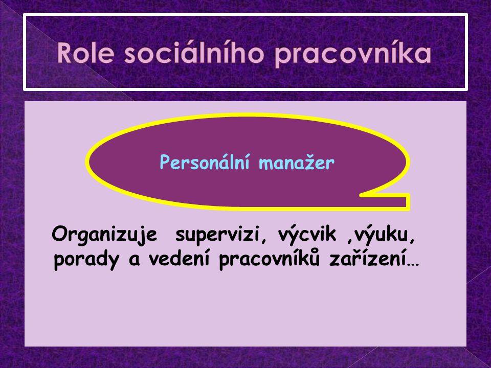 Organizuje supervizi, výcvik,výuku, porady a vedení pracovníků zařízení… Personální manažer