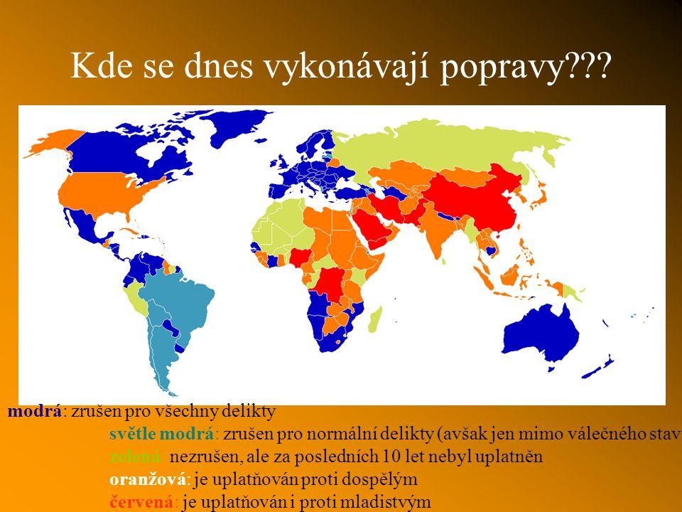 Současný stav evropská tradice vnímá trest jako výchovný prostředek k napravení odsouzeného americké pojetí práva dává trestu význam odplaty ( malá pravděpodobnost zrušení trestu) 88 zemínemá trest smrti 11 zemí, které mají trest smrti jen ve výjimečných stavech 29 zemí, které trest smrti v trestním řádu mají, ale za posledních 10 let neprovedly žádnou popravu 69 zemí, které trest smrti využívají- většinou za vraždy v roce 2005 bylo ve 22 zemích popraveno 2148 lidí, z toho naprostou většinu v Číně, Iránu, Saúdské Arábii a USA.