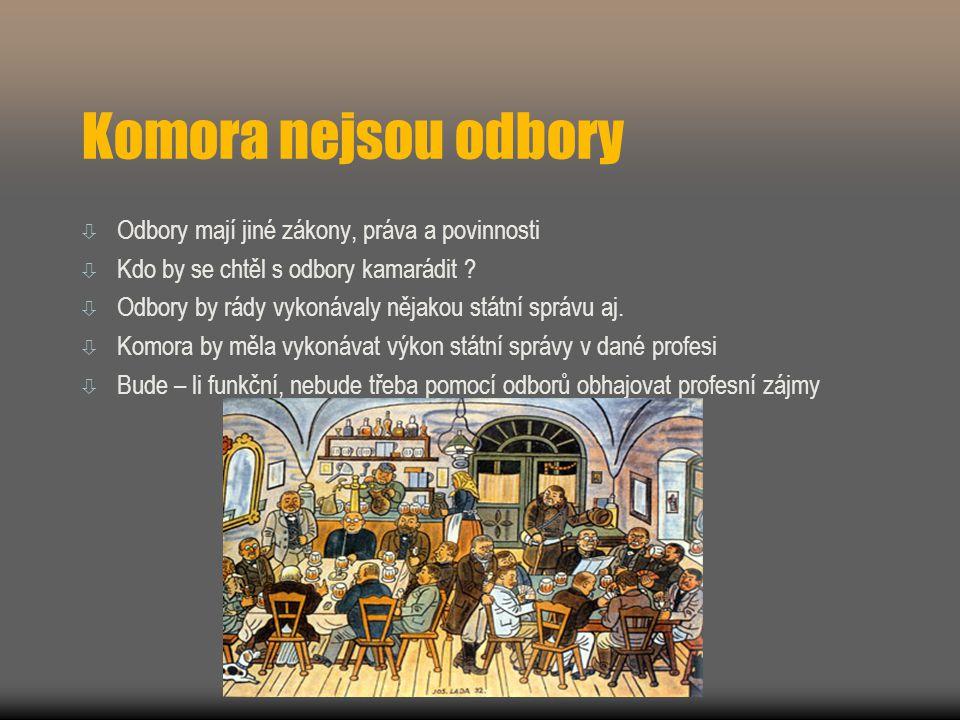 Komora nejsou odbory  Odbory mají jiné zákony, práva a povinnosti  Kdo by se chtěl s odbory kamarádit .