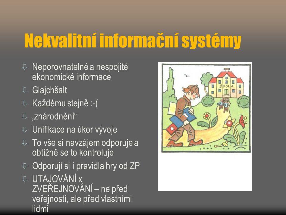 """Nekvalitní informační systémy  Neporovnatelné a nespojité ekonomické informace  Glajchšalt  Každému stejně :-(  """"znárodnění  Unifikace na úkor vývoje  To vše si navzájem odporuje a obtížně se to kontroluje  Odporují si i pravidla hry od ZP  UTAJOVÁNÍ x ZVEŘEJNOVÁNÍ – ne před veřejností, ale před vlastními lidmi"""