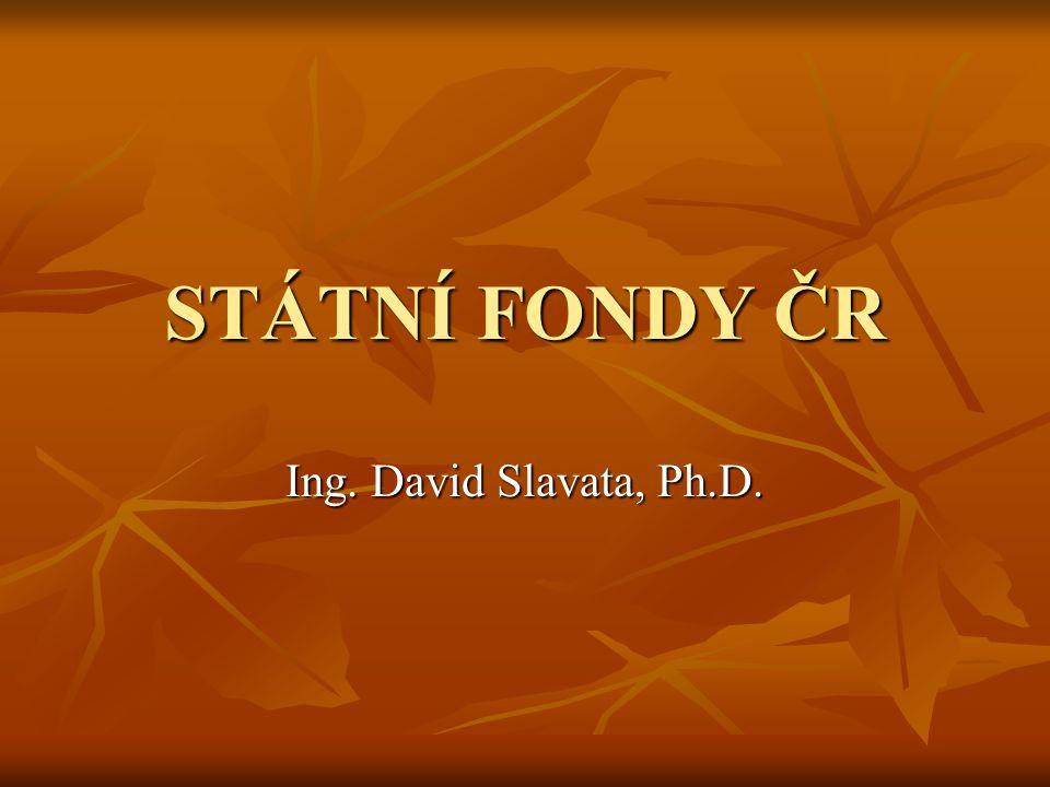 STÁTNÍ FONDY ČR Ing. David Slavata, Ph.D.