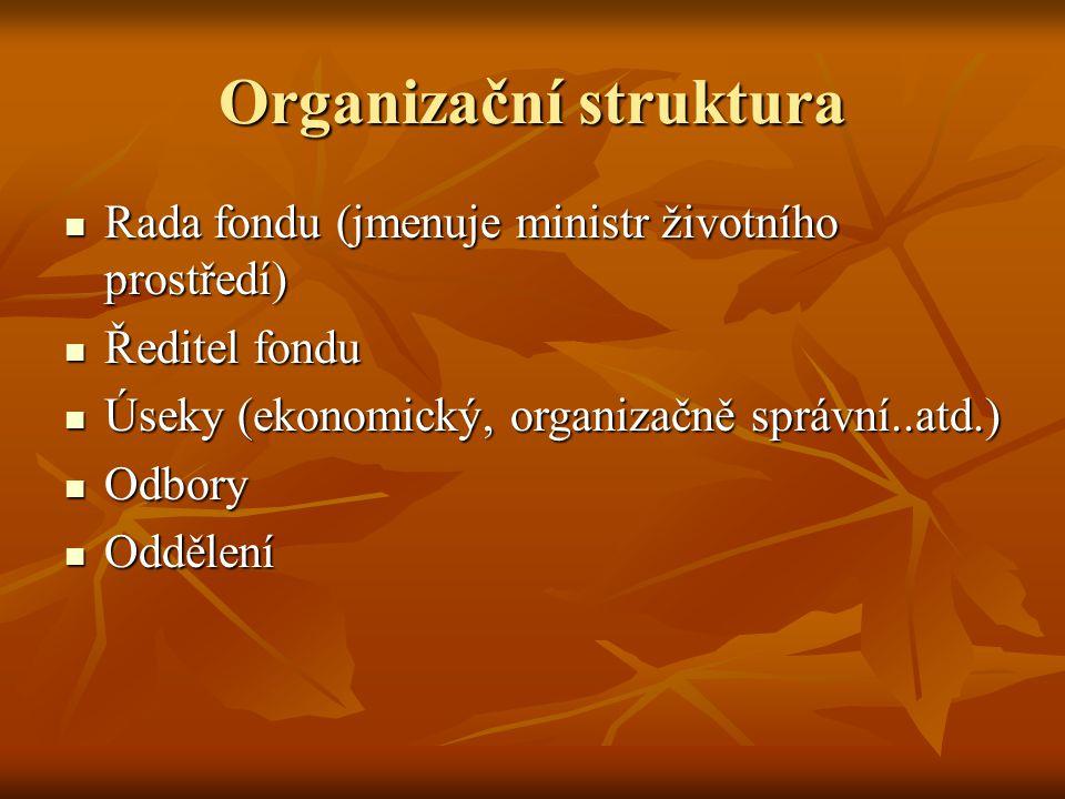 Organizační struktura Rada fondu (jmenuje ministr životního prostředí) Rada fondu (jmenuje ministr životního prostředí) Ředitel fondu Ředitel fondu Úseky (ekonomický, organizačně správní..atd.) Úseky (ekonomický, organizačně správní..atd.) Odbory Odbory Oddělení Oddělení