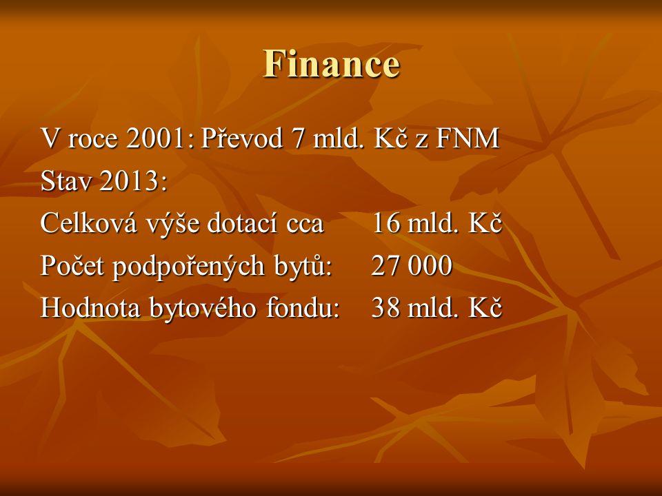 Finance V roce 2001: Převod 7 mld.Kč z FNM Stav 2013: Celková výše dotací cca 16 mld.