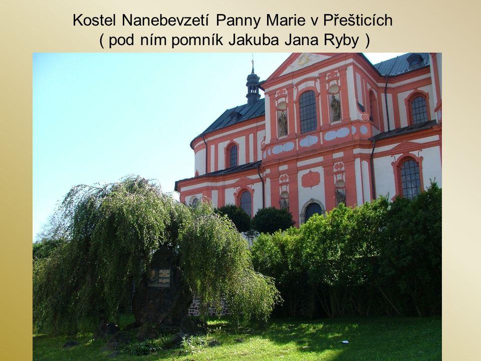 Kostel Nanebevzetí Panny Marie v Přešticích ( pod ním pomník Jakuba Jana Ryby )