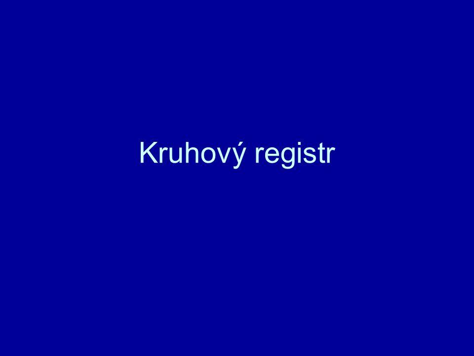 Kruhový registr zpracovává načtenou informaci do registru.