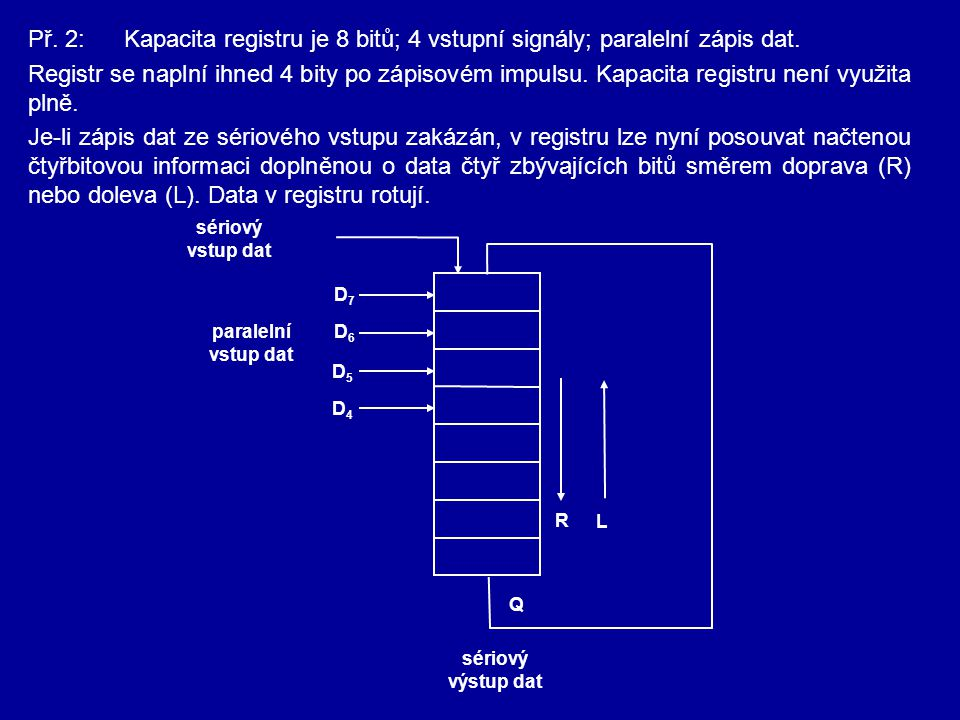 Př. 2:Kapacita registru je 8 bitů; 4 vstupní signály; paralelní zápis dat. Registr se naplní ihned 4 bity po zápisovém impulsu. Kapacita registru není