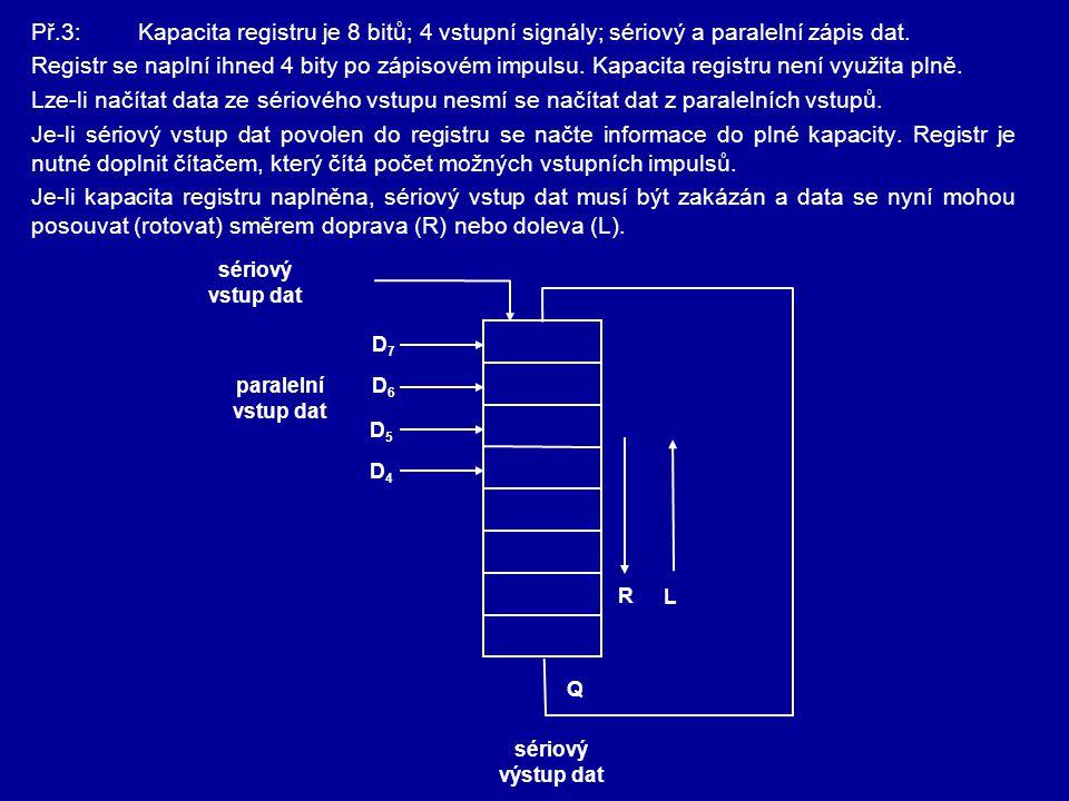 Př.3:Kapacita registru je 8 bitů; 4 vstupní signály; sériový a paralelní zápis dat. Registr se naplní ihned 4 bity po zápisovém impulsu. Kapacita regi
