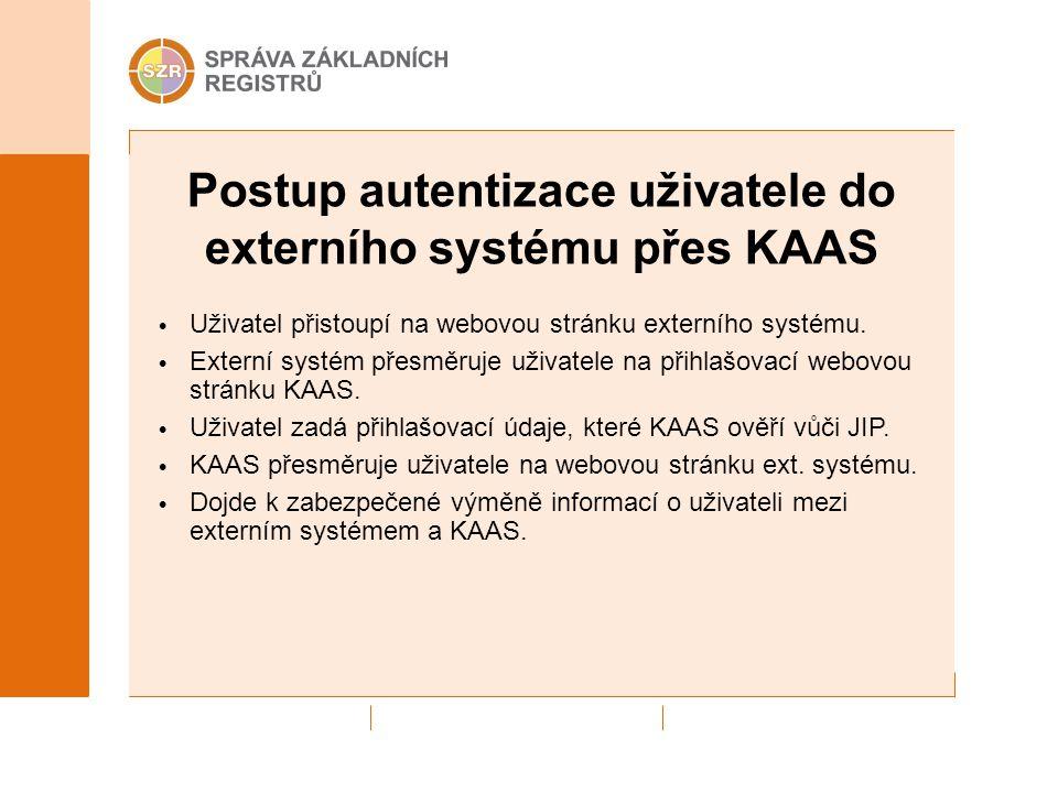 Postup autentizace uživatele do externího systému přes KAAS Uživatel přistoupí na webovou stránku externího systému. Externí systém přesměruje uživate