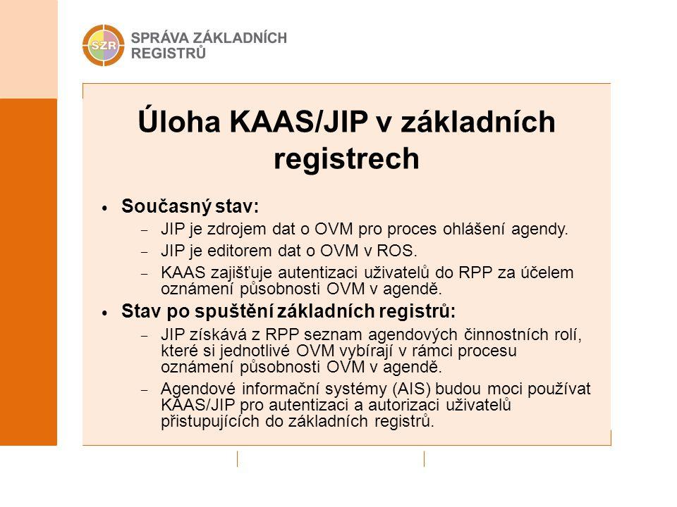 Úloha KAAS/JIP v základních registrech Současný stav: – JIP je zdrojem dat o OVM pro proces ohlášení agendy. – JIP je editorem dat o OVM v ROS. – KAAS