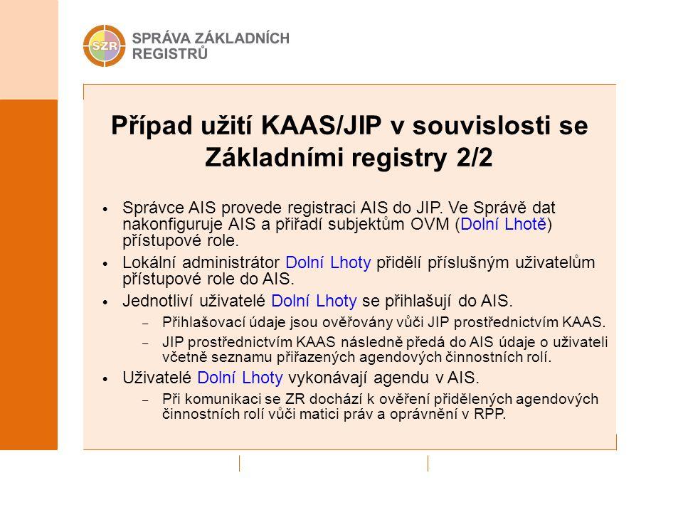 Případ užití KAAS/JIP v souvislosti se Základními registry 2/2 Správce AIS provede registraci AIS do JIP. Ve Správě dat nakonfiguruje AIS a přiřadí su