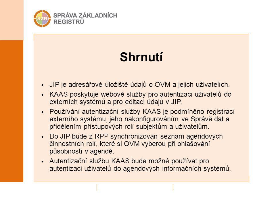 Shrnutí JIP je adresářové úložiště údajů o OVM a jejich uživatelích. KAAS poskytuje webové služby pro autentizaci uživatelů do externích systémů a pro