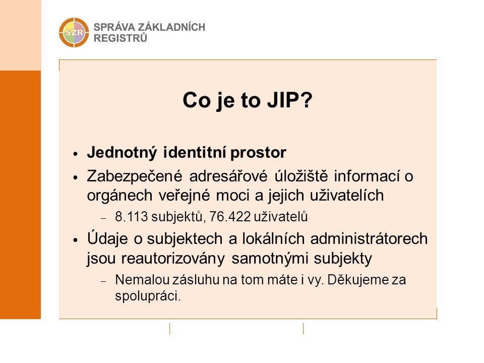 Co je to JIP? Jednotný identitní prostor Zabezpečené adresářové úložiště informací o orgánech veřejné moci a jejich uživatelích – 8.113 subjektů, 76.4