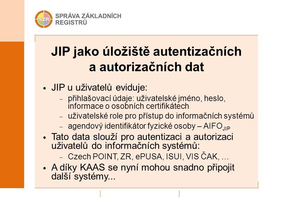 JIP jako úložiště autentizačních a autorizačních dat JIP u uživatelů eviduje: – přihlašovací údaje: uživatelské jméno, heslo, informace o osobních cer
