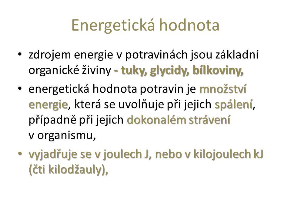 Energetická hodnota - tuky, glycidy, bílkoviny, zdrojem energie v potravinách jsou základní organické živiny - tuky, glycidy, bílkoviny, množství ener