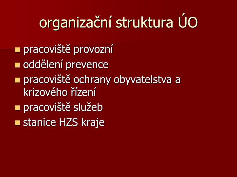organizační struktura ÚO pracoviště provozní pracoviště provozní oddělení prevence oddělení prevence pracoviště ochrany obyvatelstva a krizového řízen