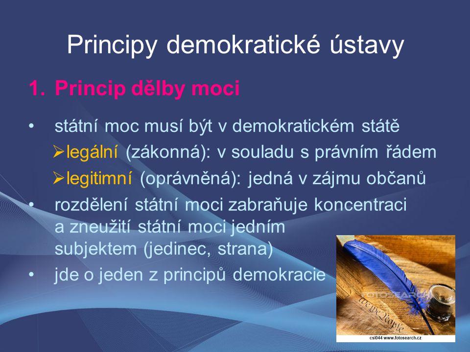 Principy demokratické ústavy 1.Princip dělby moci státní moc musí být v demokratickém státě  legální (zákonná): v souladu s právním řádem  legitimní (oprávněná): jedná v zájmu občanů rozdělení státní moci zabraňuje koncentraci a zneužití státní moci jedním subjektem (jedinec, strana) jde o jeden z principů demokracie