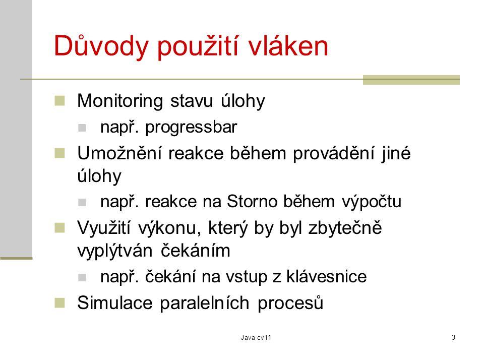 Java cv113 Důvody použití vláken Monitoring stavu úlohy např.