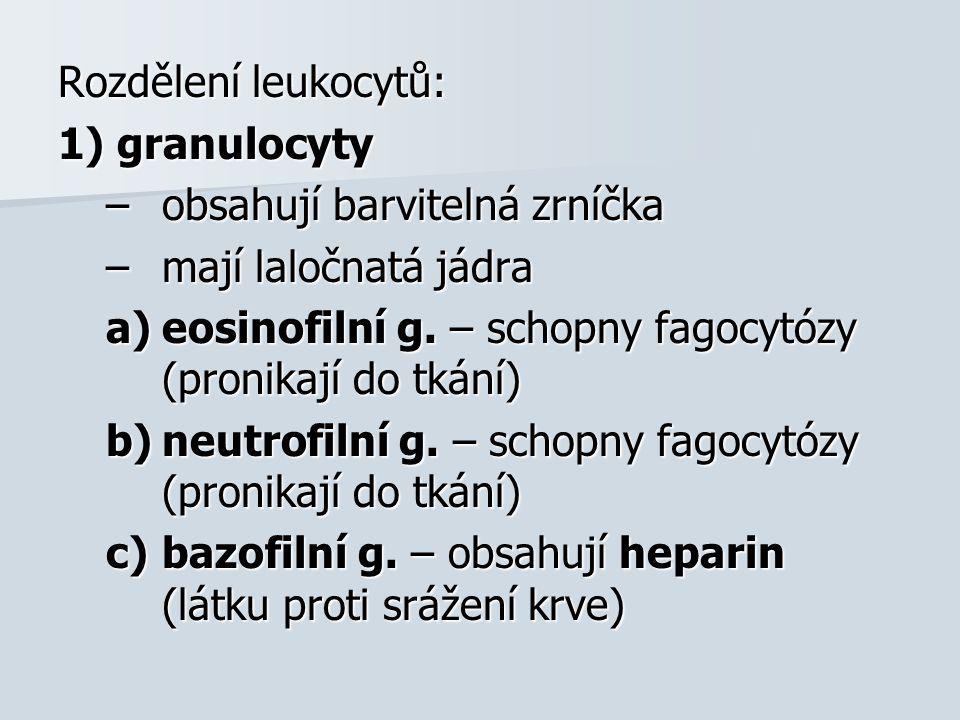 2) agranulocyty –neobsahují barvitelná zrníčka a)monocyty  ledvinovité jádro  pronikají do tkání  mění se v makrofágy - fagocytují b)lymfocyty  okrouhlé jádro  dělí se na T a B