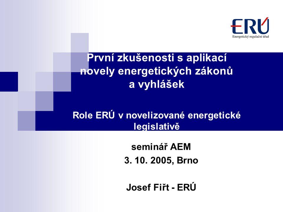 První zkušenosti s aplikací novely energetických zákonů a vyhlášek Role ERÚ v novelizované energetické legislativě seminář AEM 3.
