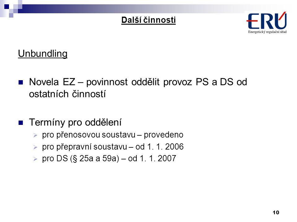 10 Další činnosti Unbundling Novela EZ – povinnost oddělit provoz PS a DS od ostatních činností Termíny pro oddělení  pro přenosovou soustavu – provedeno  pro přepravní soustavu – od 1.