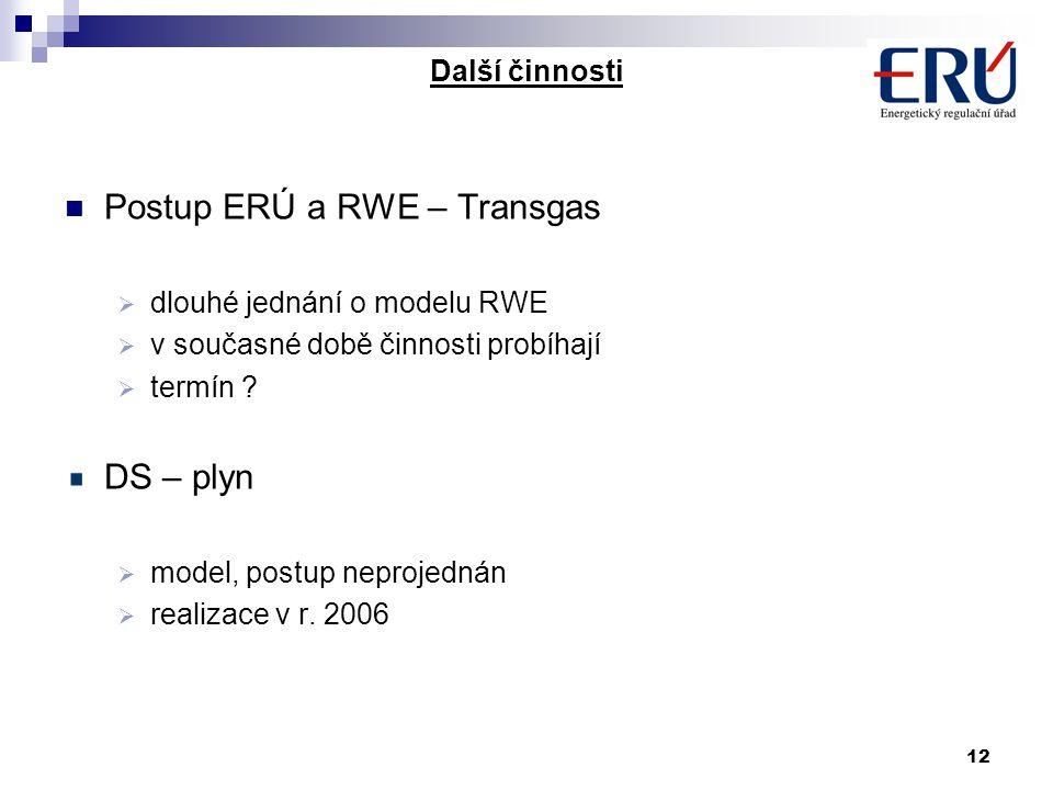 12 Další činnosti Postup ERÚ a RWE – Transgas  dlouhé jednání o modelu RWE  v současné době činnosti probíhají  termín .