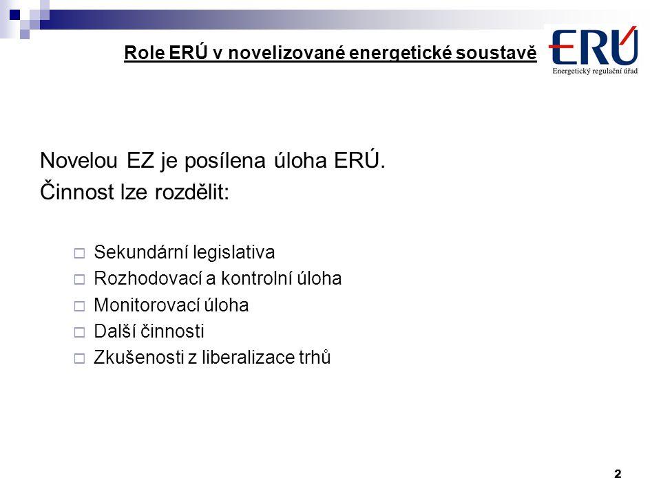 2 Role ERÚ v novelizované energetické soustavě Novelou EZ je posílena úloha ERÚ.