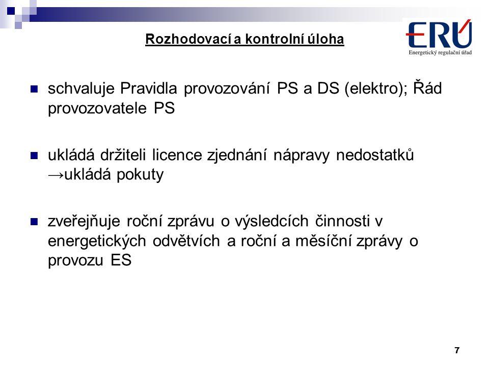 7 Rozhodovací a kontrolní úloha schvaluje Pravidla provozování PS a DS (elektro); Řád provozovatele PS ukládá držiteli licence zjednání nápravy nedostatků →ukládá pokuty zveřejňuje roční zprávu o výsledcích činnosti v energetických odvětvích a roční a měsíční zprávy o provozu ES