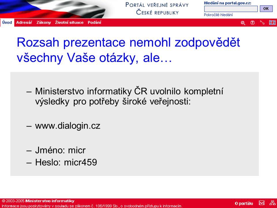 Rozsah prezentace nemohl zodpovědět všechny Vaše otázky, ale… –Ministerstvo informatiky ČR uvolnilo kompletní výsledky pro potřeby široké veřejnosti: –www.dialogin.cz –Jméno: micr –Heslo: micr459