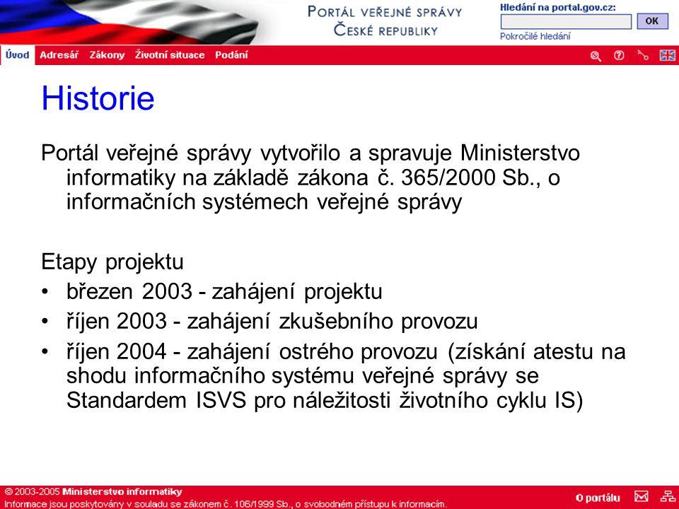Historie Portál veřejné správy vytvořilo a spravuje Ministerstvo informatiky na základě zákona č.