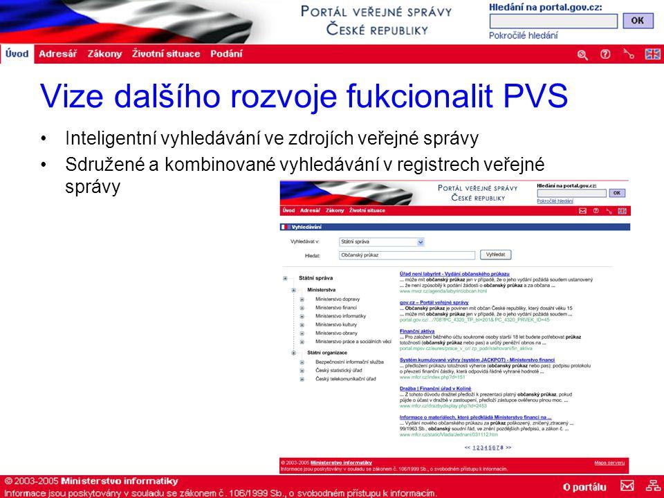Vize dalšího rozvoje fukcionalit PVS Inteligentní vyhledávání ve zdrojích veřejné správy Sdružené a kombinované vyhledávání v registrech veřejné správy