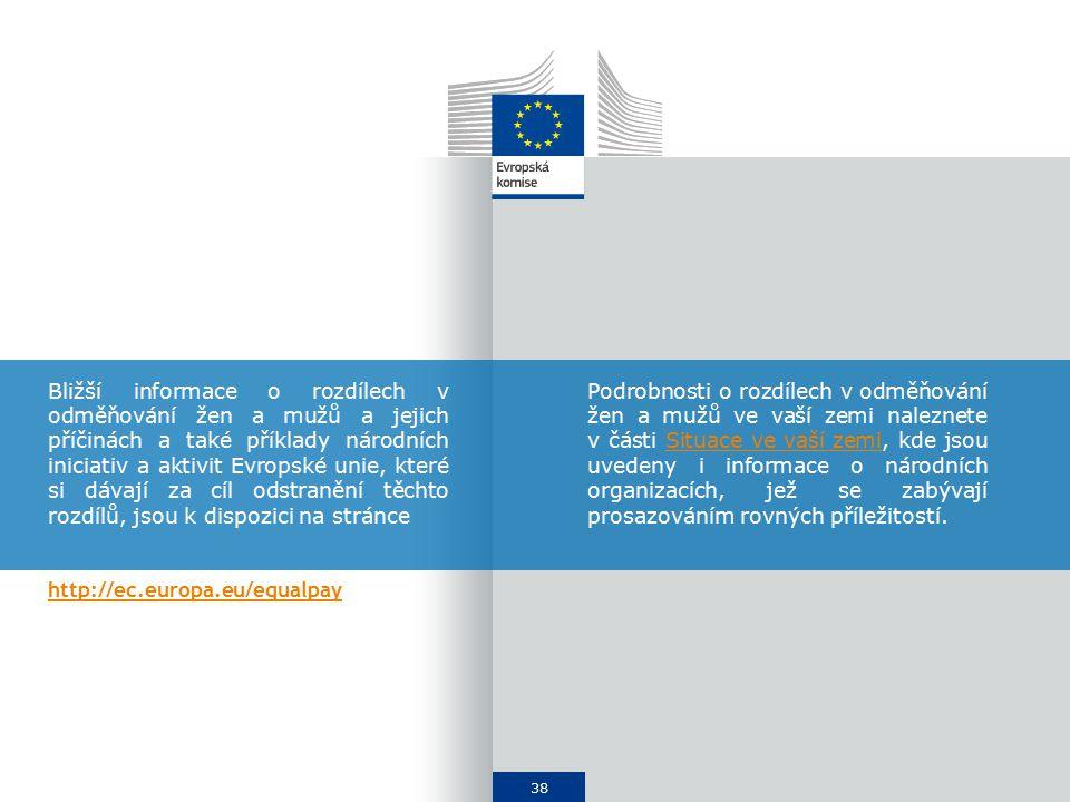 38 Bližší informace o rozdílech v odměňování žen a mužů a jejich příčinách a také příklady národních iniciativ a aktivit Evropské unie, které si dávají za cíl odstranění těchto rozdílů, jsou k dispozici na stránce http://ec.europa.eu/equalpay Podrobnosti o rozdílech v odměňování žen a mužů ve vaší zemi naleznete v části Situace ve vaší zemi, kde jsou uvedeny i informace o národních organizacích, jež se zabývají prosazováním rovných příležitostí.Situace ve vaší zemi