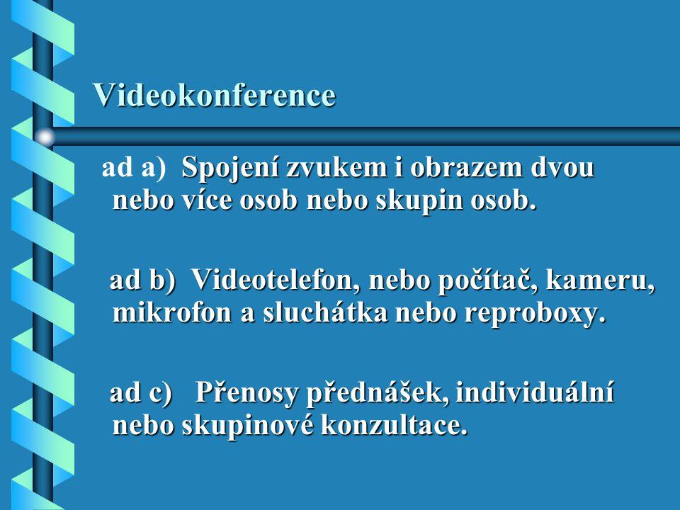Videokonference Spojení zvukem i obrazem dvou nebo více osob nebo skupin osob.