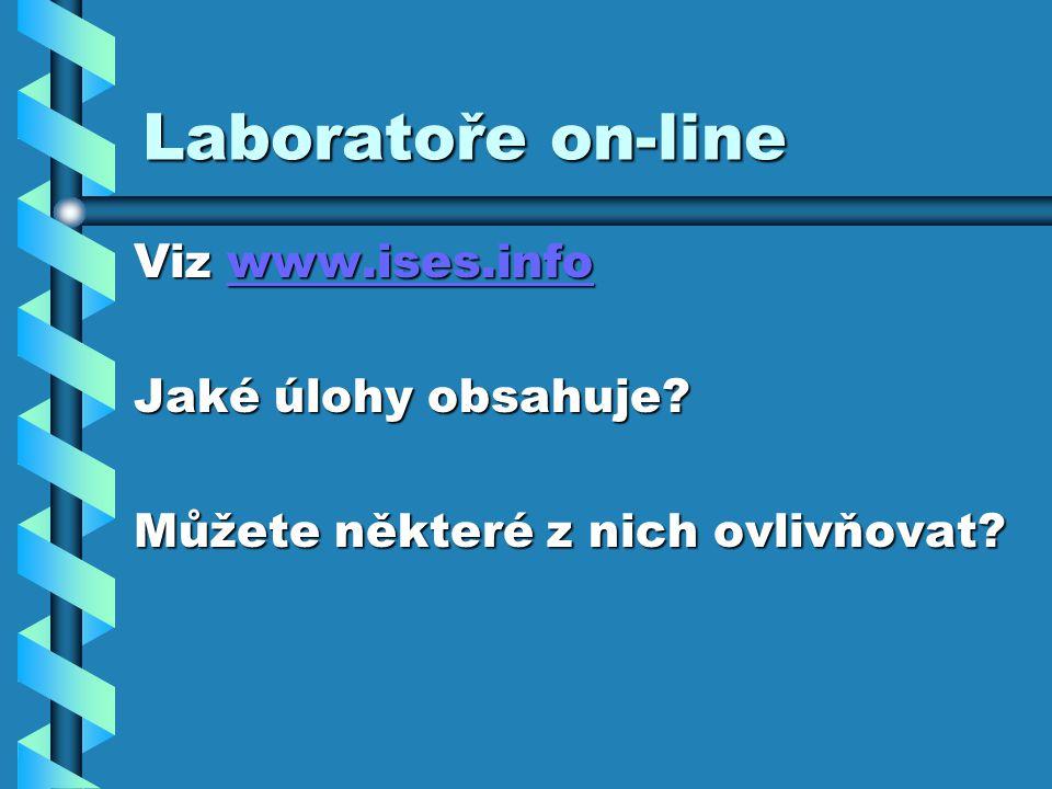 Laboratoře on-line Viz www.ises.info www.ises.info Jaké úlohy obsahuje? Můžete některé z nich ovlivňovat?