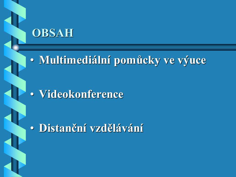 OBSAH Multimediální pomůcky ve výuceMultimediální pomůcky ve výuce VideokonferenceVideokonference Distanční vzděláváníDistanční vzdělávání