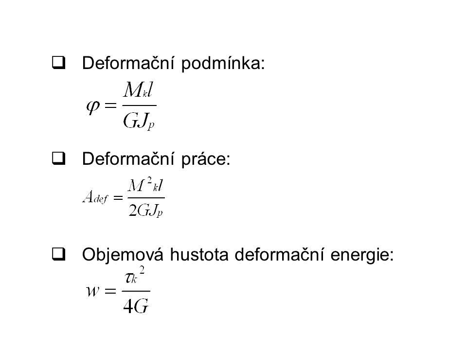  Deformační podmínka:  Deformační práce:  Objemová hustota deformační energie: