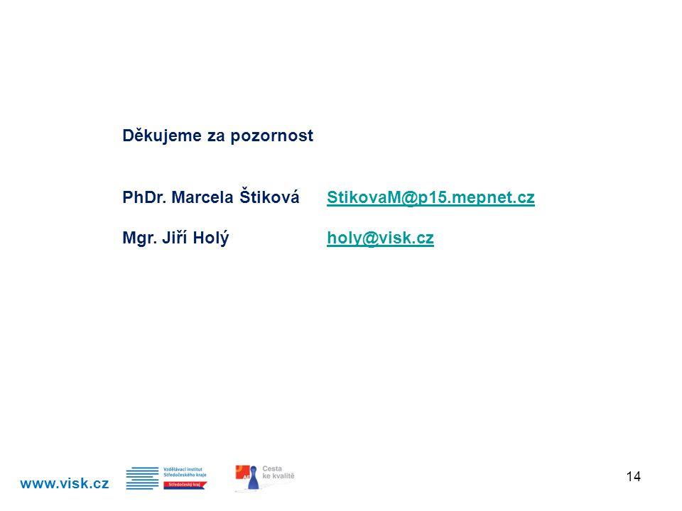 www.visk.cz 14 Děkujeme za pozornost PhDr. Marcela Štiková StikovaM@p15.mepnet.czStikovaM@p15.mepnet.cz Mgr. Jiří Holýholy@visk.czholy@visk.cz