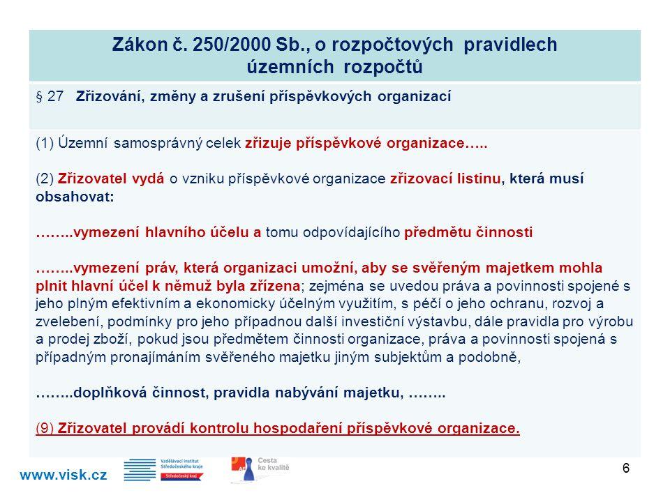 Zákon č. 250/2000 Sb., o rozpočtových pravidlech územních rozpočtů § 27 Zřizování, změny a zrušení příspěvkových organizací (1) Územní samosprávný cel