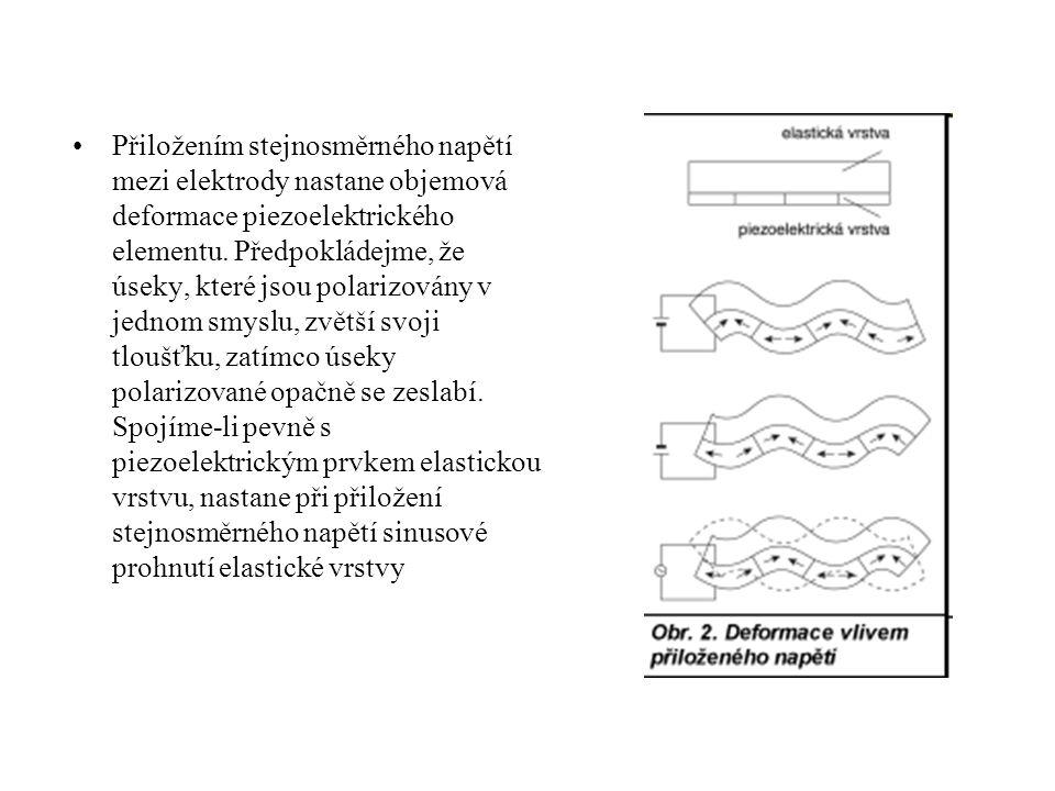 Přiložením stejnosměrného napětí mezi elektrody nastane objemová deformace piezoelektrického elementu. Předpokládejme, že úseky, které jsou polarizová