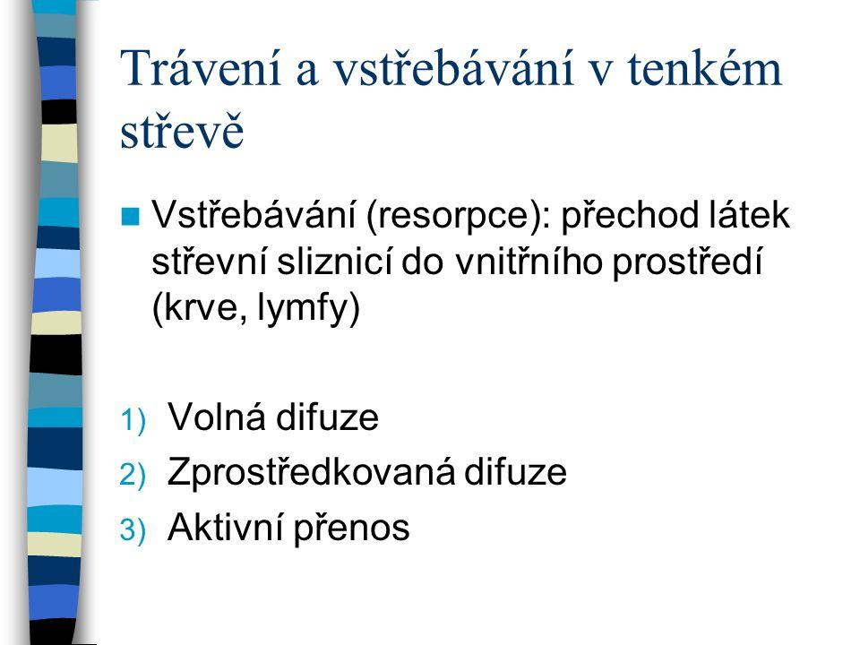Trávení a vstřebávání v tenkém střevě Vstřebávání (resorpce): přechod látek střevní sliznicí do vnitřního prostředí (krve, lymfy) 1) Volná difuze 2) Z