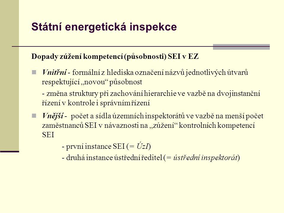 Státní energetická inspekce Kontrolní činnost SEI je a bude i nadále prováděna na základě: návrhu MPO, ERÚ a z vlastního podnětu (zůstává i po novele ) (podněty fyzických a právnických osob) plán činnosti x namátkové kontroly x kontroly z podnětů při vlastním výkonu kontrolní činnosti se SEI řídí a bude řídit: zákonem č.
