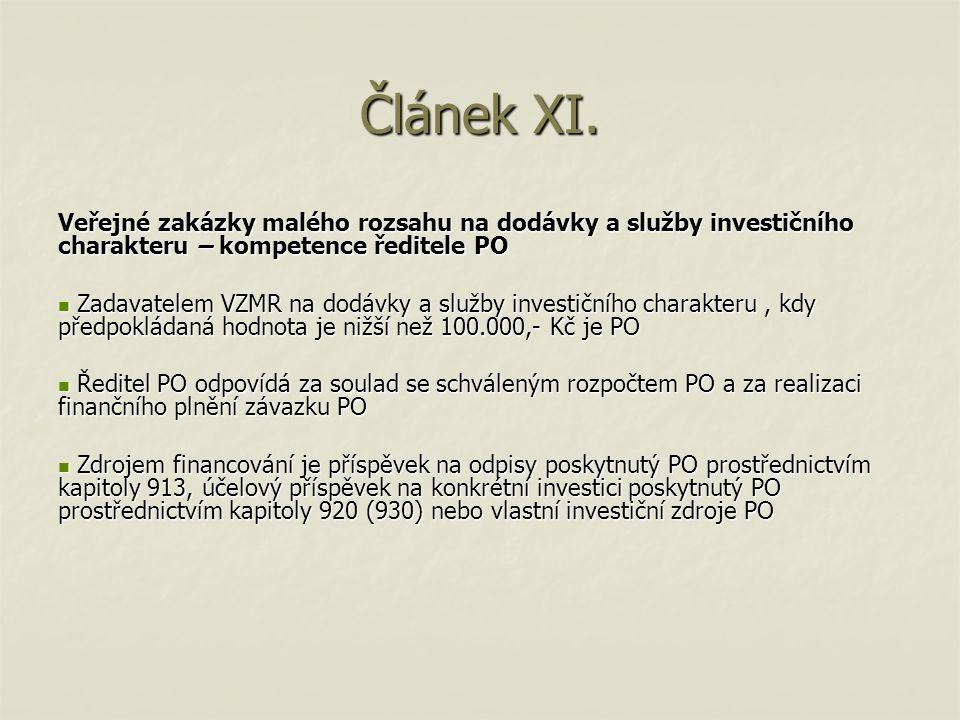 Článek XI.