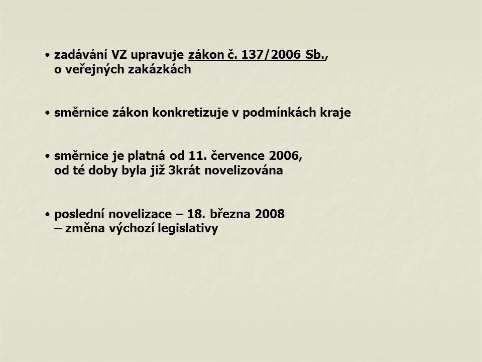 zadávání VZ upravuje zákon č. 137/2006 Sb., o veřejných zakázkách směrnice zákon konkretizuje v podmínkách kraje směrnice je platná od 11. července 20
