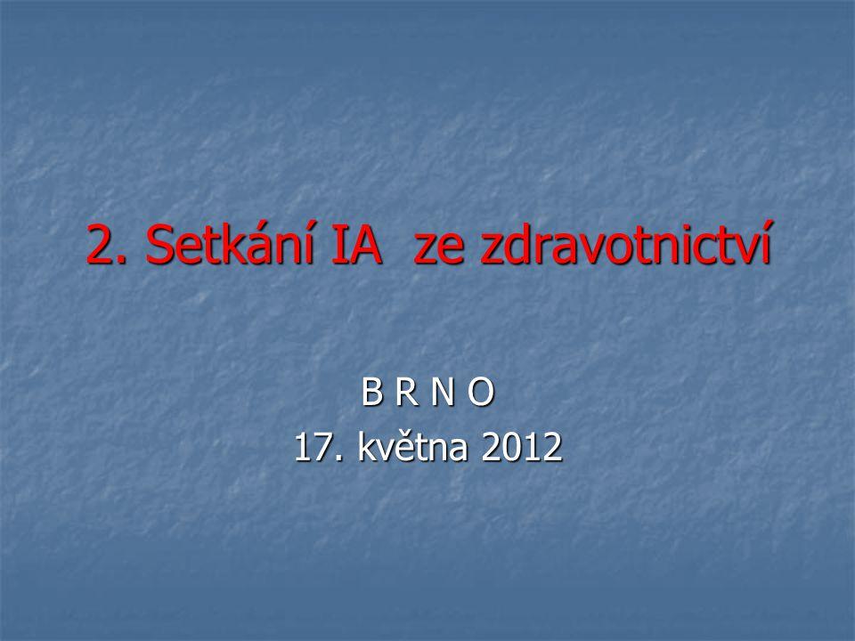 2. Setkání IA ze zdravotnictví B R N O 17. května 2012