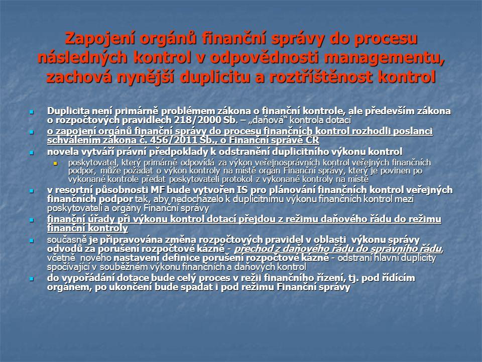 Zapojení orgánů finanční správy do procesu následných kontrol v odpovědnosti managementu, zachová nynější duplicitu a roztříštěnost kontrol Duplicita není primárně problémem zákona o finanční kontrole, ale především zákona o rozpočtových pravidlech 218/2000 Sb.