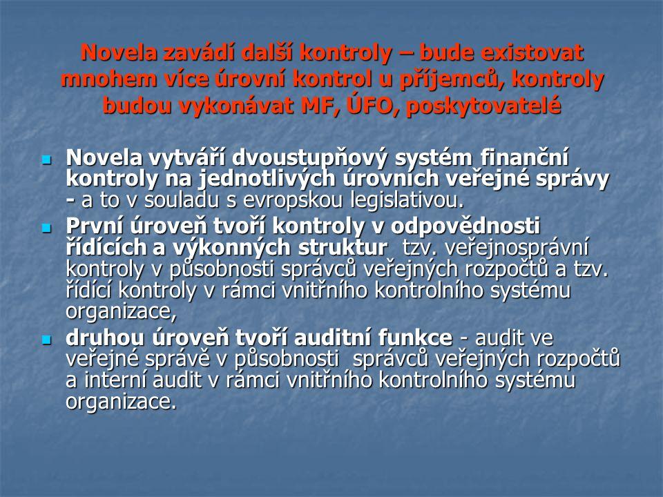 Novela zavádí další kontroly – bude existovat mnohem více úrovní kontrol u příjemců, kontroly budou vykonávat MF, ÚFO, poskytovatelé Novela vytváří dvoustupňový systém finanční kontroly na jednotlivých úrovních veřejné správy - a to v souladu s evropskou legislativou.