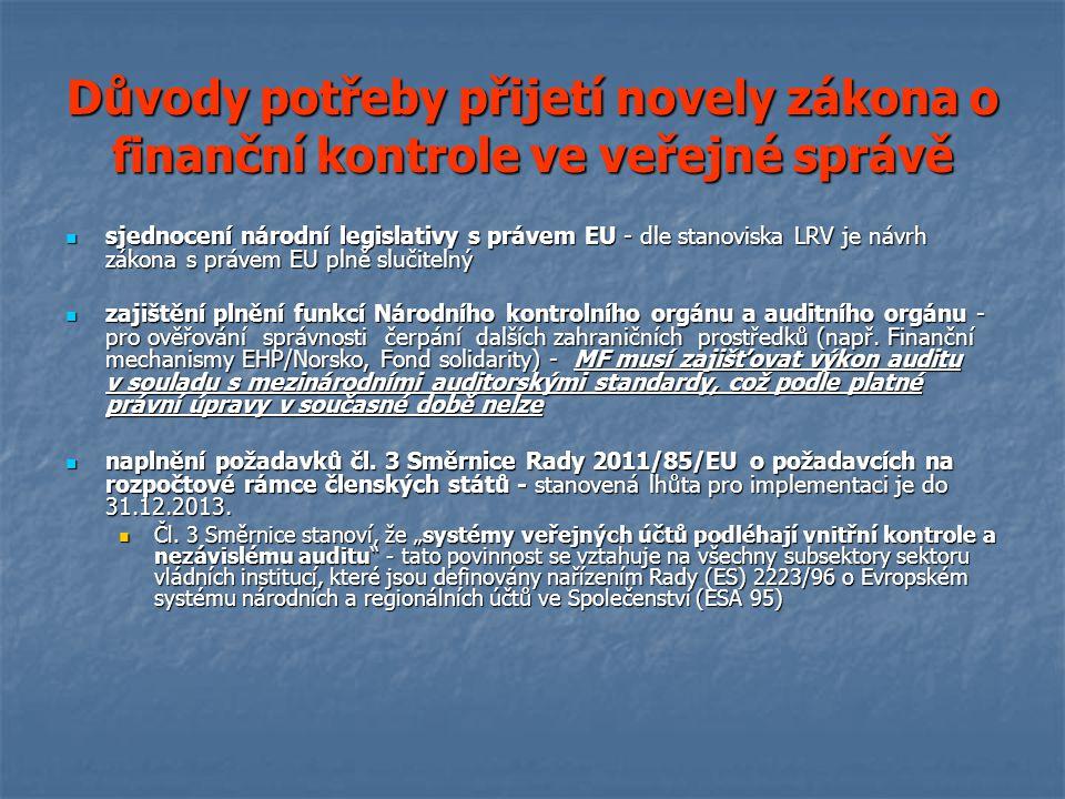 Důvody potřeby přijetí novely zákona o finanční kontrole ve veřejné správě sjednocení národní legislativy s právem EU - dle stanoviska LRV je návrh zákona s právem EU plně slučitelný sjednocení národní legislativy s právem EU - dle stanoviska LRV je návrh zákona s právem EU plně slučitelný zajištění plnění funkcí Národního kontrolního orgánu a auditního orgánu - pro ověřování správnosti čerpání dalších zahraničních prostředků (např.