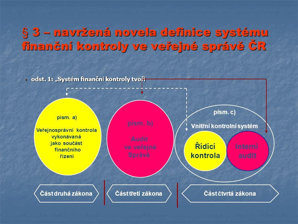 § 3 – navržená novela definice systému finanční kontroly ve veřejné správě ČR  odst.